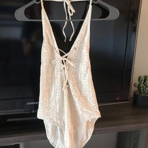 White lace one piece swimsuit